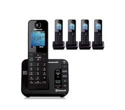 Panasonic Single Line Cordless Phones 5 Handsets panasonic kx tgh265b r