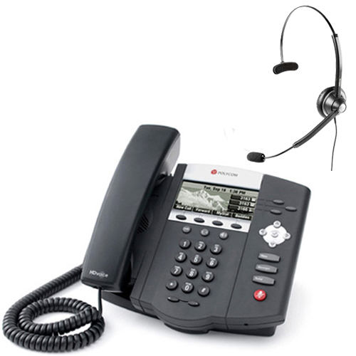 polycom 2200-12450-001 w/ Wireless Headset VoIP Corded Phone with Included Headset at Sears.com