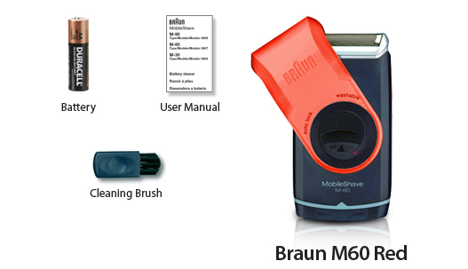 Braun M60 Red Mobileshave Shaver Travel Lock