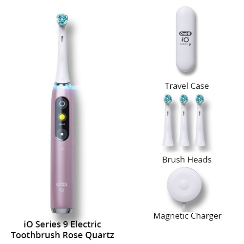 oral b io series 9 electric toothbrush with 4 replacement brush heads rose quartz