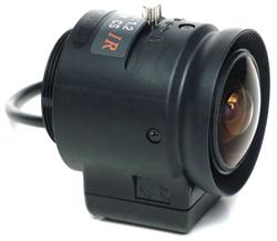 """<div class=""""item-number-top"""">Item # PLA22T3DN</div> <ul> <li><span class=""""blackbold"""">1/3"""" Wide-Angle Lens</span></li> <li>Auto Iris</li> <li>2.22mm Focal Length</li> <li>CS Mount</li> <li>Works w/ B/W Cameras</li> </ul>"""