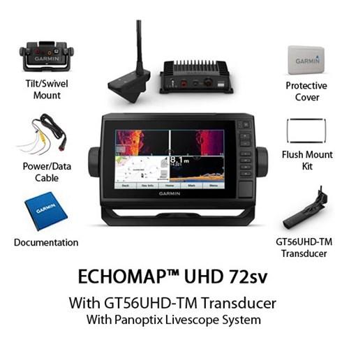 garmin echomap uhd 72sv with worldwide basemap and panoptix livescope system