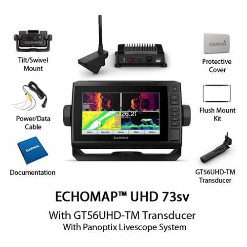 garmin echomap uhd 73sv with us lakevu g3 and panoptix livescope system