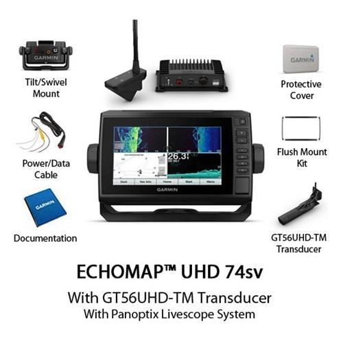 garmin echomap uhd 74sv with us bluechart g3 and panoptix livescope system