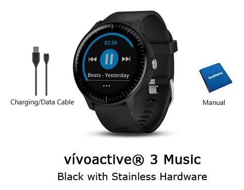 garmin vivoactive 3 music worldwide black with silver hardware