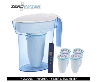 zero water 7 cup ready pour pitcher bundle with 4 pack filter