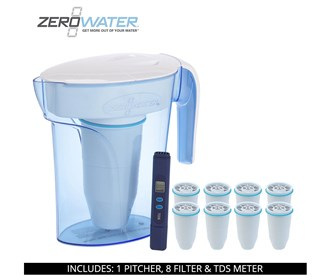 zero water 7 cup ready pour pitcher bundle with 8 pack filter