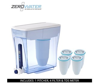 zero water 20 cup ready pour pitcher bundle with 4 pack filter
