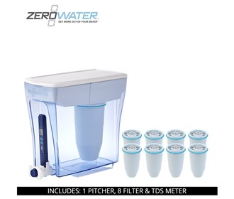 zero water 20 cup ready pour pitcher bundle with 8 pack filter