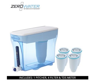 zero water 30 cup ready pour pitcher bundle with 4 pack filter