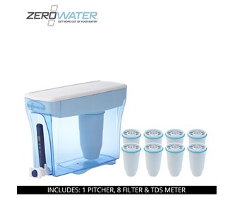 zero water 30 cup ready pour pitcher bundle with 8 pack filter