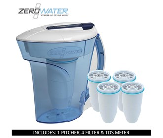 zero water 10 cup ready pour pitcher bundle with 4 pack filter