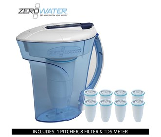 zero water 10 cup ready pour pitcher bundle with 8 pack filter