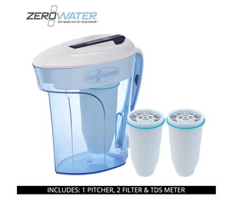 zero water 12 cup ready pour pitcher bundle with 2 pack filter