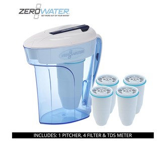 zero water 12 cup ready pour pitcher bundle with 4 pack filter