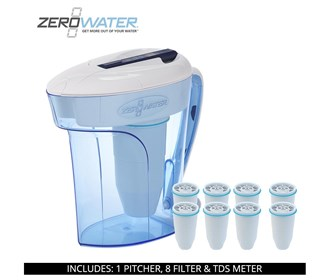 zero water 12 cup ready pour pitcher bundle with 8 pack filter