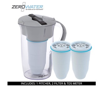 zero water 8 cup round pitcher bundle with 2 pack filter
