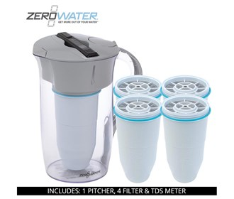 zero water 8 cup round pitcher bundle with 4 pack filter