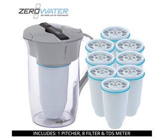 zero water 8 cup round pitcher bundle with 8 pack filter