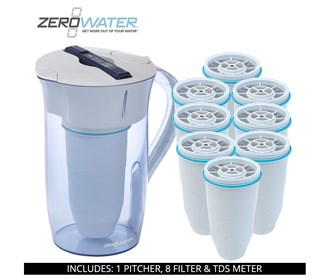 zero water 10 cup round pitcher bundle with 8 pack filter