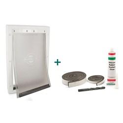 """<ul>  <li>Magnetic Closure</li>  <li><span class=""""bluebold"""">Great for Storm Doors</span></li>  <li><span class=""""redbold"""">Paintable Plastic Frame </span></li>  <li>Snap-on Closing Panel </li>   <li>Flexible, Tinted &amp; Adjustable Soft Flap</li>   <li>Fits Doors 1/16"""" to 2"""" Thick</li> </ul>"""