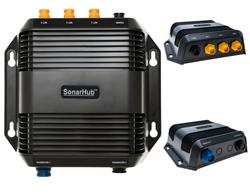 """Product # 000-11142-001 <br /> <ul> <li><span class=""""blackbold"""">SonarHub Sounder Module</span></li> <li>StructureScan HD Imaging</li> <li>High Resolution Side Scannner</li> <li><span class=""""bluebold"""">New DownScan Imaging Advantage</span></li> <li>Compatible w/ ALL-NEW SpotlightScan&trade; Transducers</li> <li>Three Built-In Ethernet Ports</li> </ul>"""