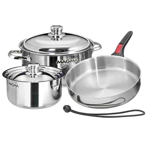 magma nesting 7 piece s s gourmet starter cookware set