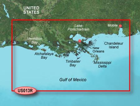 Bluechart g2 vision VUS013R Mobile to Lake Charles