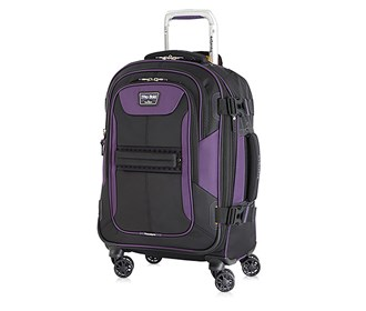 travelpro 21 inch expandable spinner black purple