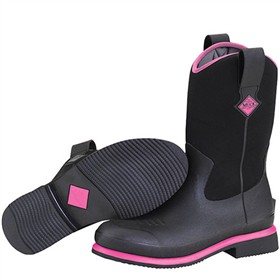 the muck boot company womens ryder black hot pink