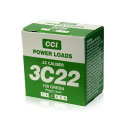 """Item # 88116 <ul> <li><span class=""""blackbold"""">CCI .22 Blank Power Loads - Green</span></li> <li>For Use w/ Remote and hand held Super Pro Dummy Launchers</li> <li>40 to 60 Yards Down Range</li> </ul>"""
