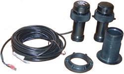 Product #  E26030 <br /> <ul> <li>Through Hull Transducer</li> <li>Frequency 200 kHz</li> <li>Suitable w/ Fiberglass &amp; Wood</li> <li>Depth Transducer</li> <li>Includes 45ft Cable</li> </ul>