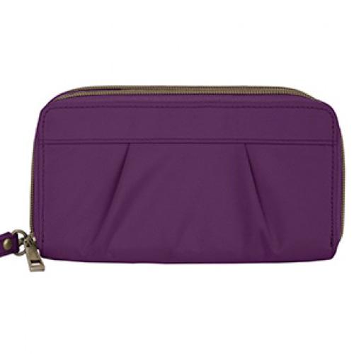 travelon signature pleated double zip clutch wallet
