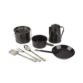 coleman 8 piece enamel cooking set black
