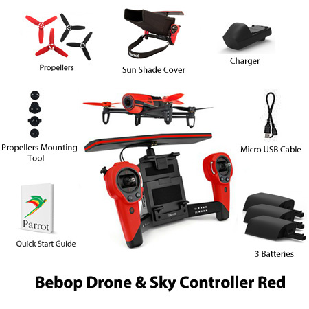 parrot bebop drone and skycontroller red
