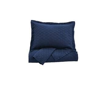 ashley furniture alecio navy quilt set