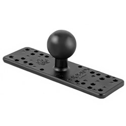 "Product # RAM-111BU <ul> <li><span class=""blackbold"">Rectangle Base Ball Mount</span></li> <li>Powder Coated Marine Grade Aluminum Material</li> <li>Ball Size: 1.5"" Ruber Ball</li> <li>Different Combinations of Pre-Drilled Holes</li> <li>No Drilling Necessary</li> <li>Flat 6.25"" x 2"" Rectangle Base</li> <li>Works With Many Devices Including Marine GPS, CB &amp; Ham Radios</li> </ul>"