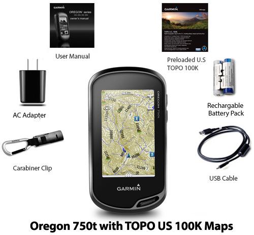 garmin oregon750t with topo us 100k maps