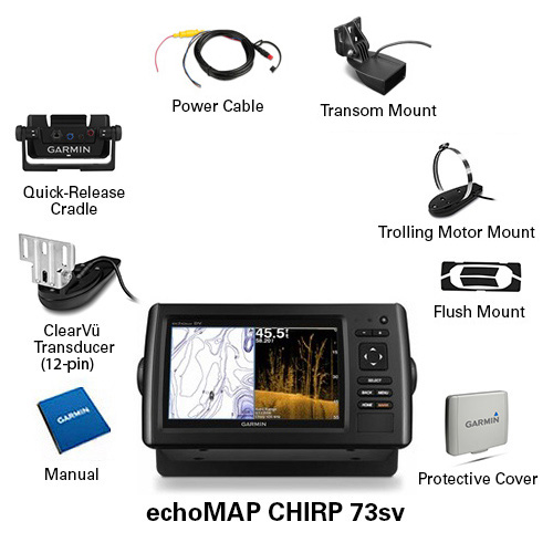 Garmin Echomap Chirp 73sv W Clearvu Transducer