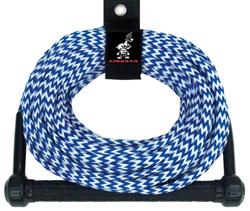 "Product # AHSR75 <ul> <li><span class=""blackbold"">75 ft. Ski Rope</span></li> <li>12 inch Aluminum Core Handle</li> <li>Molded End Caps</li> <li>Performance Tractor Grip</li> <li>Blue & White Candy Stripe Color Scheme</li> <li>75 Feet Length</li> <li>16-Strand Rope is UV-treated</li> </ul>"
