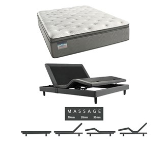 beautysleep 450 plush pillow top twinxl size mattress and adjustable base with massage feature