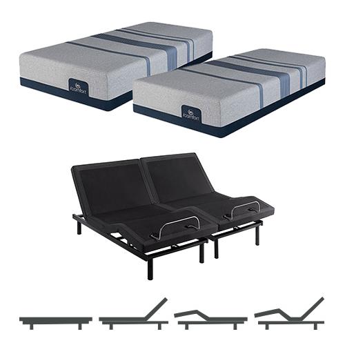 blue max 1000 plush split king size mattress and adjustable base