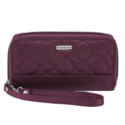 Travelon Signature Embroidered Phone Clutch Wallet