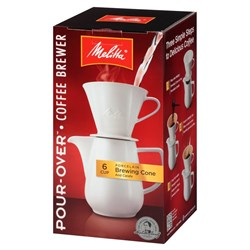 "Item # 640476 <br/> <ul> <li><span class=""blackbold"">Pour Over Coffeemaker</span></li> <li>36oz Porcelain Carafe</li> <li><span class=""bluebold"">Brews 6 Cups of Coffee</span></li> <li>Porcelain Brewing Cone</li> <li>Designed to Allow Optimal Ground Coffee Flavor Extraction</li> <li>Uses Number 4 Paper Filters</li> <li>Dishwasher Safe</li> </ul>"