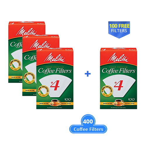 melitta cone 400 counts white with a free filter