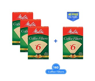 melitta cone 160 counts natural brown with a free filter