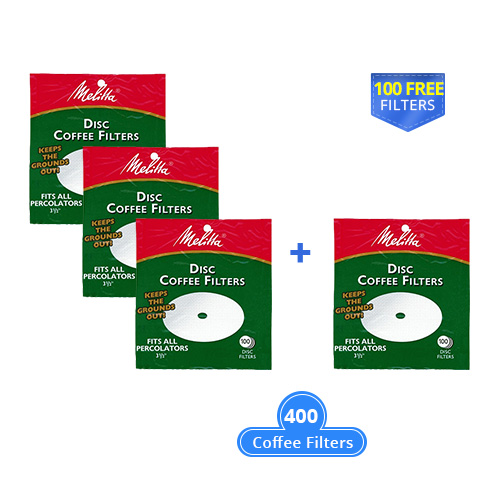 melitta 3.5 inch disc percolator 400 counts white with a free filter