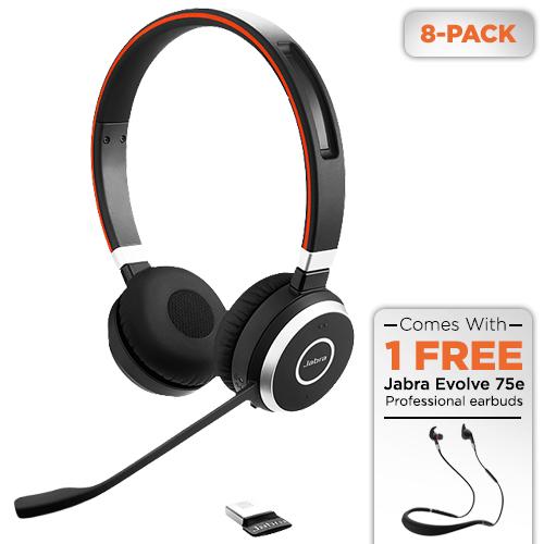 jabra evolve 65 uc stereo 8 pack w/ free 75e