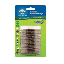 "<ul> <li><span class=""blackbold"">Busy Buddy&reg; Natural Rawhide Rings</span></li> <li><span class=""bluebold"">Contains 16 Treats Per Pack</span></li> <li>For use with Busy Buddy&reg; Dog Toys</li>  </ul>"