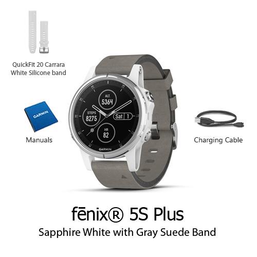 garmin fenix 5s plus sapphire white w gray suede band